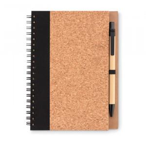 SONORA PLUSCORK - Korkowy notatnik z długopisem