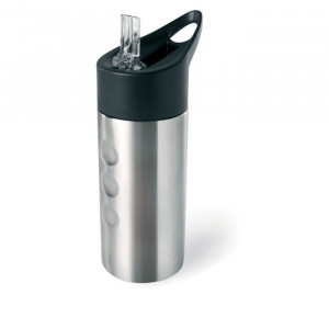 LAGOON - Metalowa butelka, ze słomką