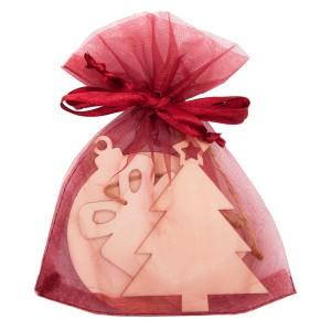 Zestaw drewnianych ozdób świątecznych w woreczku