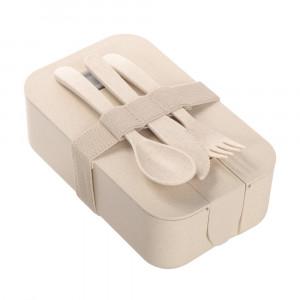 Bambusowe pudełko śniadaniowe 850 ml B'RIGHT, sztućce