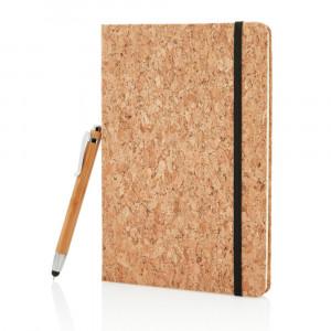 Korkowy notatnik A5, długopis touch pen