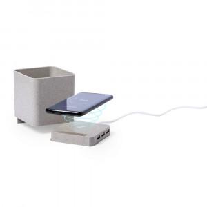 Ładowarka bezprzewodowa 5W ze słomy pszenicznej, hub USB 2.0, pojemnik na przybory do pisania