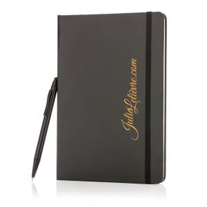 Notatnik A5, twarda okładka i długopis, touch pen