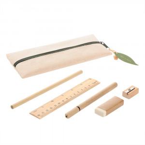 Zestaw szkolny, piórnik, ołówek, długopis, linijka, gumka i temperówka