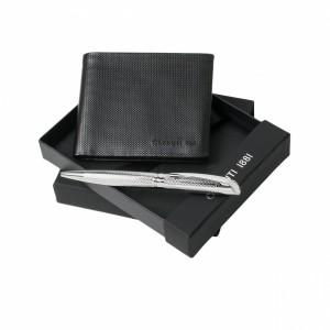 Zestaw NPBW326 - portfel-wizytownik NLW326 `Steel` + długopis NSW3704 `Blinding`